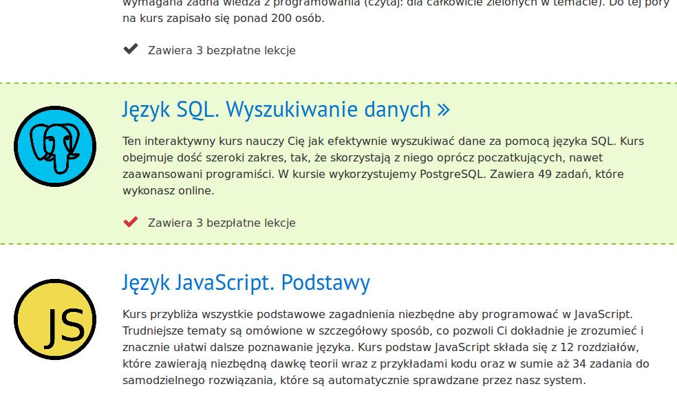 Lista kursów programowania dostępnych na platformie