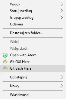 Otwwarcie konsoli bash zawierającej Git