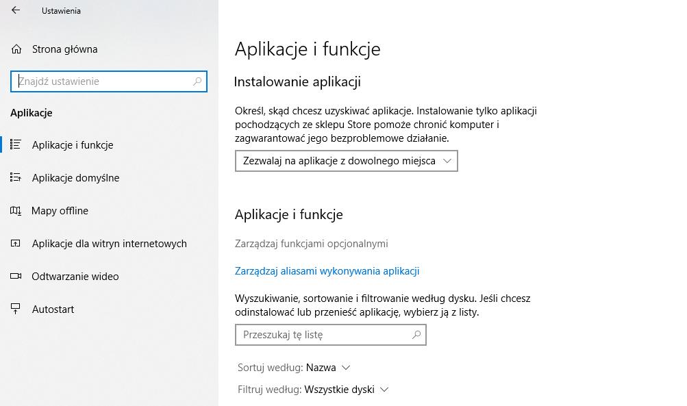 Ustawienia aplikacji w Windows