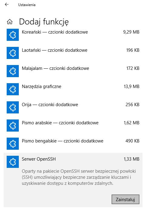 OpenSSH w Windows