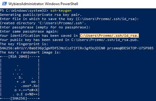 Wygenerowany klucz SSH w PowerShell